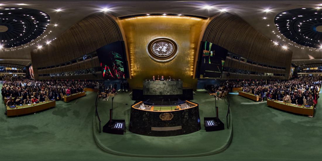 Fotografía equirectangular de la Asamblea Genral de la ONU el día de la aprobación de los ODS / Getty Images