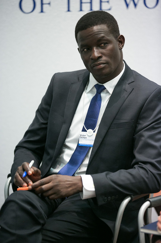 Victor Ochen, Executive Director, AYINET, Uganda at the World Economic Forum on Africa 2015 in Cape Town. Copyright by World Economic Forum / Benedikt von Loebell
