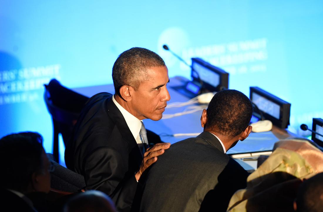 Barack Obama habla con Paul Kagamé durante la 70 Asamblea General de las Naciones Unidas / Fotografía: Getty Images