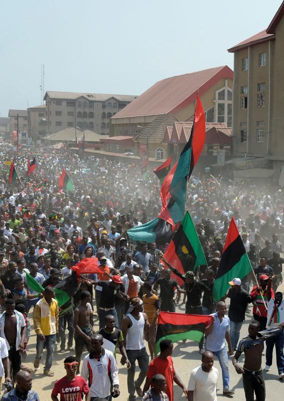 Manifestación en Biafra, Nigeria
