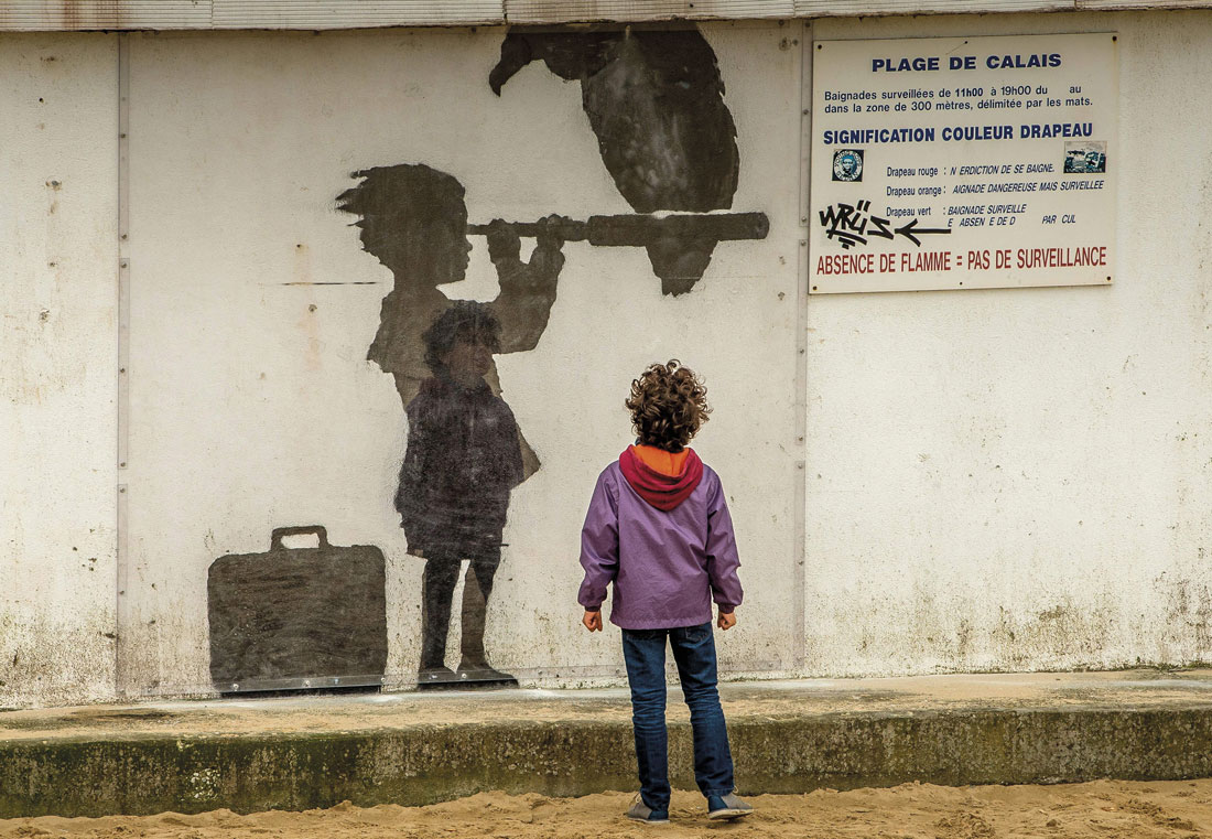 Refugiados representados por Banksy